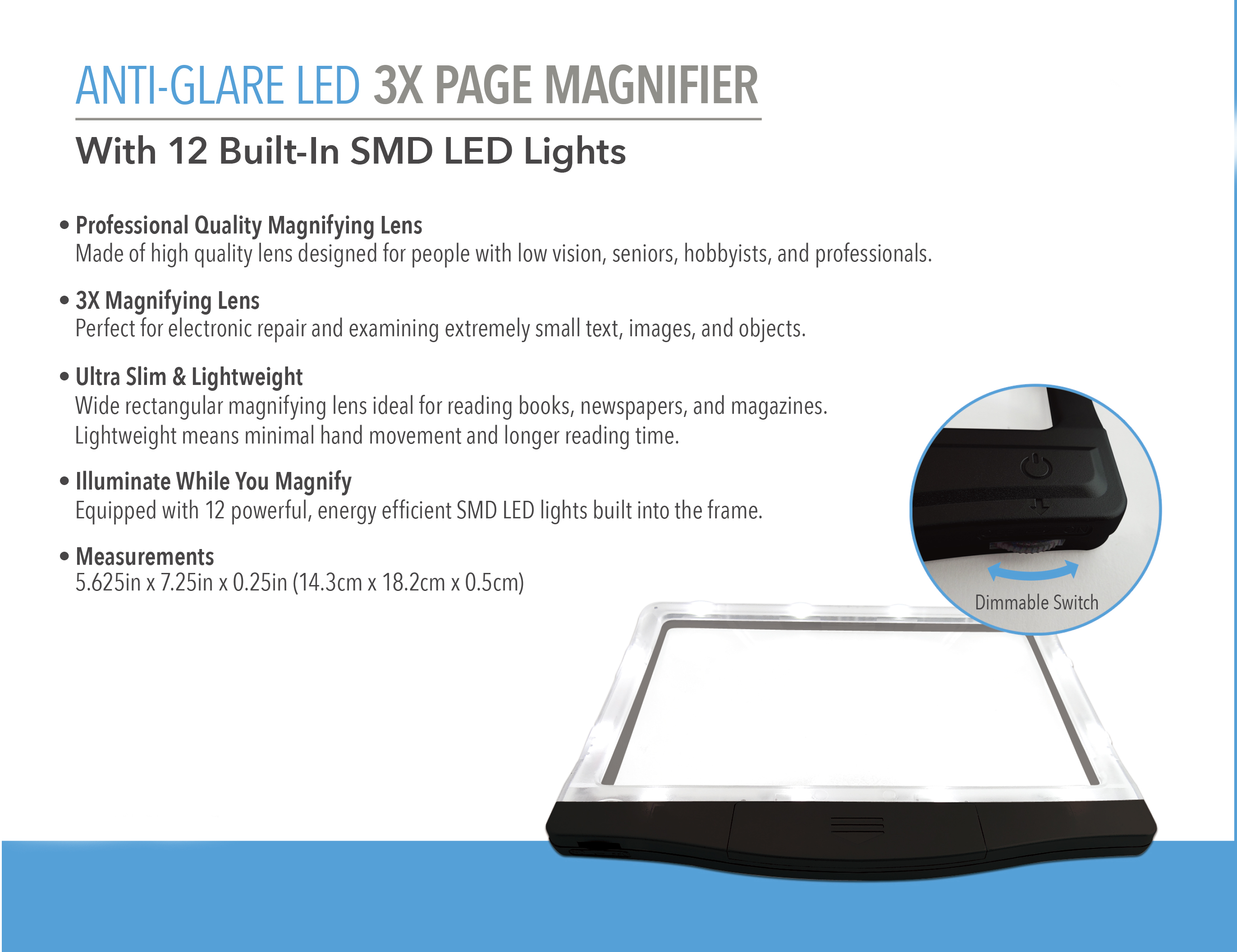 Hand Held Led Page Magnifier Reading Magnifiers Nz
